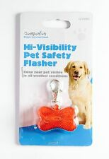 Pet Flashing Safety Light For Dog Collar Or Harness Bone Shape (Red) UK Seller