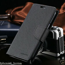 Genuine MERCURY Goospery Black Folio Flip Case Wallet Cover For iPhone 6 & 6s