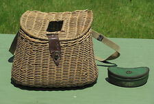 """Early Antique WICKER FISHING CREEL """"Hole In Center"""" RARE!"""