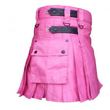 Ladies Scottish Kilt Highland Women Pink Cotton Utility Adult Handmade Cargo