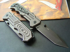 Semi automatic Embossed aluminum Folding Lock Tanto Point Blade Knife New gh