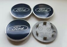 4x BLUE FORD 68MM ALLOY WHEEL CENTRE CAPS