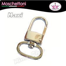 Maxi moschettone colore ARGENTO 45x20mm x  borse, portachiavi, minuteria bijoux