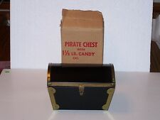 Vintage metal Pirate treasure Chest Dorie Candies Chocolate tin box + carton
