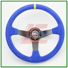 14inch 350mm Spa Suede Leather  deep Corn Drifting Steering Wheel Blue color