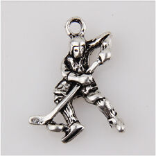 15Pcs Ice Hockey Players Tibetan Silver Charms Pendants 23mm  EIF0050
