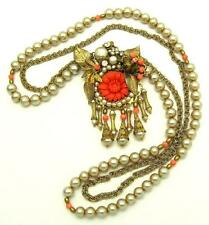 Signed MIRIAM HASKELL Pendant Necklace Baroque and Round Faux Pearls Coral Beads