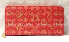 Coach 50920 Waverly Hearts Print Accordion Zip Wallet LOVE RED Gold NWT Rare!!