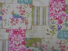 Vintage Carte Postale Patchwork oiseau kashu lavande designer rideau tissu