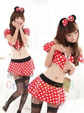 New mickey Role Play uniform Adult Halloween Costume Top+Skirt+gstring 4pcs A125