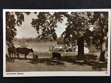 RP Vintage Postcard - Norfolk #45 - Salhouse Broad - Cattle & Sailboat