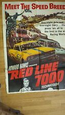 "Large Vintage Movie Poster / RED LINE 7000 / (53 1/2"" x 40) / 1965"