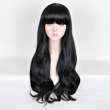 Blunt Bangs Long Curly Hair Products Wigs For Women Natural Black Wig