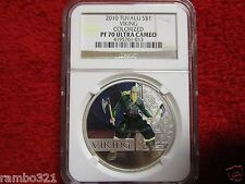 2010-P Tuvalu S$1 Viking Colorized NGC PF70 UC Proof 70 Ultra Cameo Silver Coin
