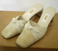 Vintage TALBOTS Cream Silk Fabric Dyeable Wedding Formal Mules Pumps 5.5M 35.5