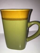 Royal Norfolk Olive Green Tan Oversized Coffee 14 Oz Mug Square Round
