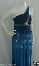 NEW Long Navy Teal Shoulder Maternity Dress XL Maxi Ball Gown Special Formal NWT