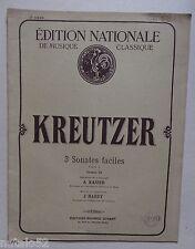 partition ancienne 3 sonates faciles - Kreutzer - piano et violon