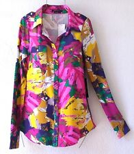 NEW~$140~BCBG~Pink Navy Floral Button-Front Blouse Shirt Top~12/14/L/Large