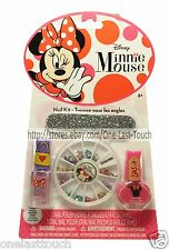 DISNEY 5pc Nail Kit/Set MINNIE MOUSE Polish+File+Wood Stick+GEMS/RHINESTONES