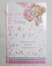 To A Wonderful Daughter with love on your 21st birthday card - Teddy Design BG