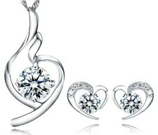 SILVER Heart Pendant Necklace Stud Earrings Set SWAROVSKI Element CRYSTAL Box G7