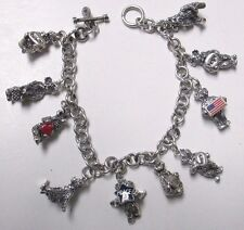 "TBC Teddy Bear Company 8"" Sterling Silver 10 Charms & Charm Bracelet HOPE DREAM"