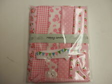 Pretty in Pink Fabric - Craft Packs - 5 Fat Eights, Ribbon & Button-100% Cotton
