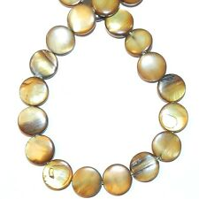 """MP1916f Cocoa Brown 12mm Flat Puffed Round Mother of Pearl Shell Beads 15"""""""
