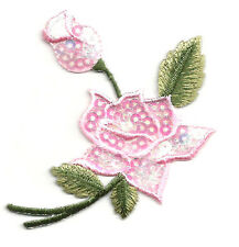 ROSE - FLOWER - W/BUD PINK SEQUINS (RIGHT) IRON ON APPLIQUE PATCH