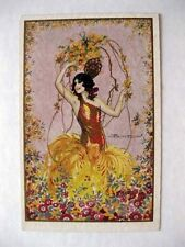 1920-30s Vintage Deco Spanish Flamenco Vancer Colorful Artist Signed Postcard