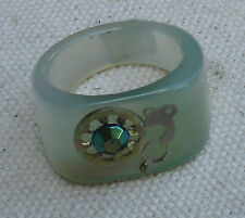 Steampunk Green Agate Ring w/gear, carved,vintage watch parts-size 9, gemstone