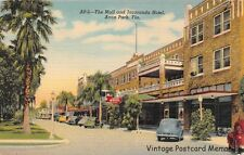 "AVON PARK FL 1944 ""Old Florida"" View of The Mall & Jacaranda Hotel Old Cars GEM+"