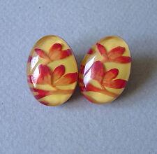 boucles d'oreille Créateur ZSISKA lucite fleur jaune rouge & argent 925 earrings