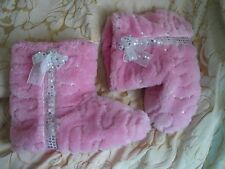brand new next pink slipper boots fleece sequins and bow size 7 to 8