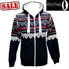 New Womens Aztec Heart Print Hoodie Long Sleeve Zipper Ladies Hooded Jacket 6-14