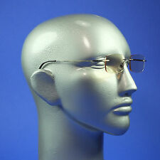 Computer Reading Glasses Frameless Lightweight Aspheric Lens Pewter Trim +2.50