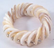 New Natural Shell Donut & Clear Glass Bead Stretch Bracelet #B1342