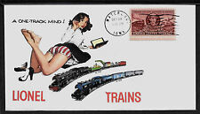 1940s Lionel Trains & Pin Up Girl Featured on Collector's Envelope *A257