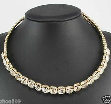 Newest Design huge Lady Statement clear crystal chunky chain charm necklace 1075
