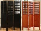 3 Panel Solid Wood Screen Room Divider, Shutters on Top Half, Walnut or Espresso
