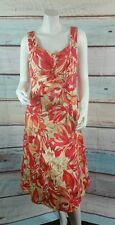 Coldwater Creek Red Orange Ivory  Fit & Flare Dress Modest Size 10