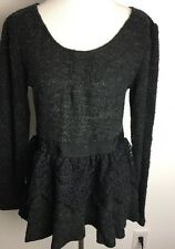 Anthropologie a'reve Sweater Black Large NWT Scoop Neck L