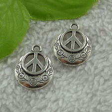 free ship 200 pieces tibet silver peace symbol charms 24x20mm #3041