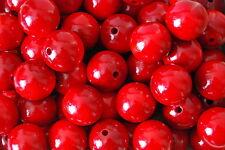 Set 50 Perles Bois Naturel Diamètre 25 mm. En Rouge Couleur
