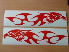 LARGE tribal hawk eagle red flames vinyl graphics car side sticker bonnet decals