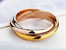 Stainless Steel Tri-Color Triple Linked Bands Ring Party Wedding Rings