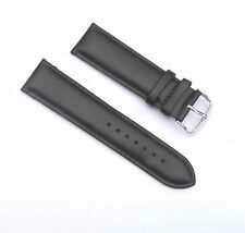 24mm Quality Genuine Leather Padded Black Watch Band - Size Regular with 2 Sprin