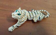 Vintage Eisenberg Ice Rhinestone Enamel & Rhinestone Tiger Cat Pin Brooch