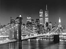 "NEW YORK SKYLINE WALL ART CANVAS PICTURE LARGE 18"" X 32"" BLACK & WHITE"